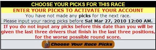 Choose Your Race Picks